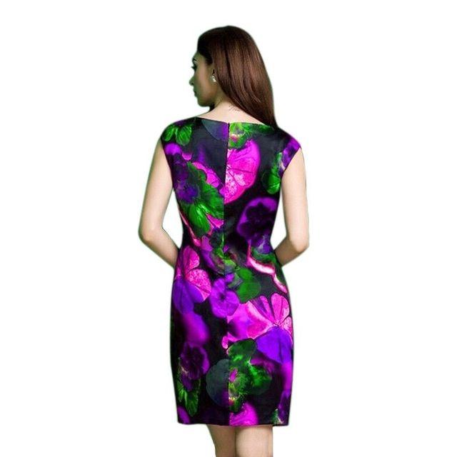 Đầm in 3D Hoa Đỏ Xếp Ly Eo Đính Hoa  - giá sỉ, giá tốt