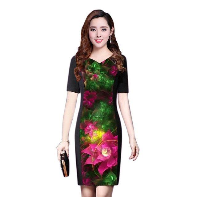 Đầm in 3D cổ tim hoa tiên hồng - giá sỉ, giá tốt