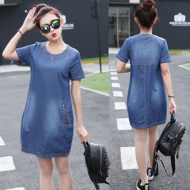 Đầm Jean Cổ Tròn Phối Túi Dây Kéo - giá sỉ, giá tốt