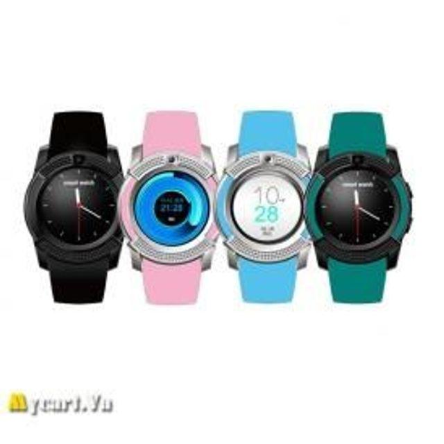 Đồng hồ thông minh có khe sim mặt tròn Smartwatch V8 hồng