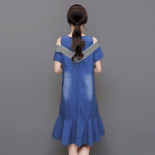 Đầm jean hở vai đuôi cá phối thun sọc  - giá sỉ, giá tốt