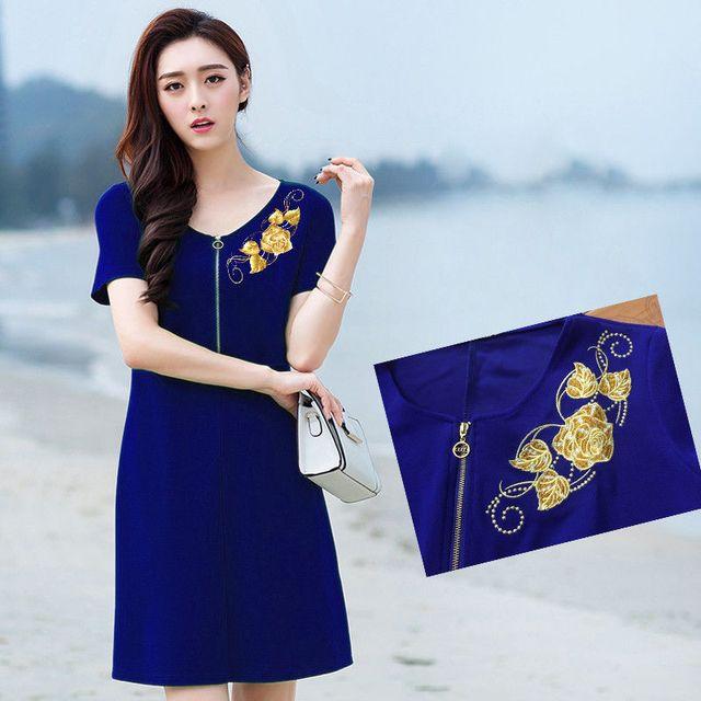 Đầm xanh bích cao cấp thêu 3D hoa hồng ánh kim có size XXXL