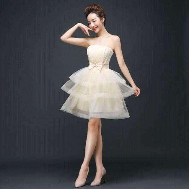 Đầm Xòe Tầng Cup Ngực trắng kem