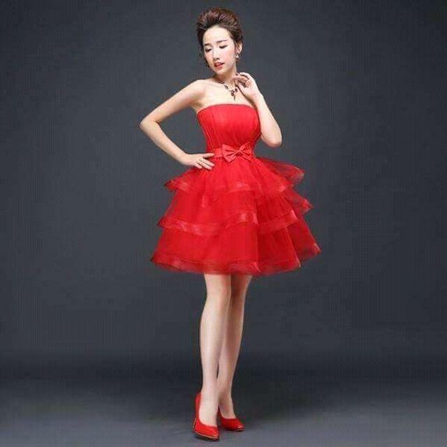 Đầm Xòe Tầng Cup Ngực đỏ quí phái