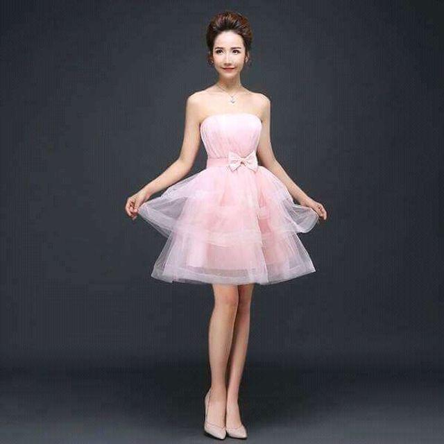 Đầm Xòe Tầng Cup Ngực Hồng công chúa