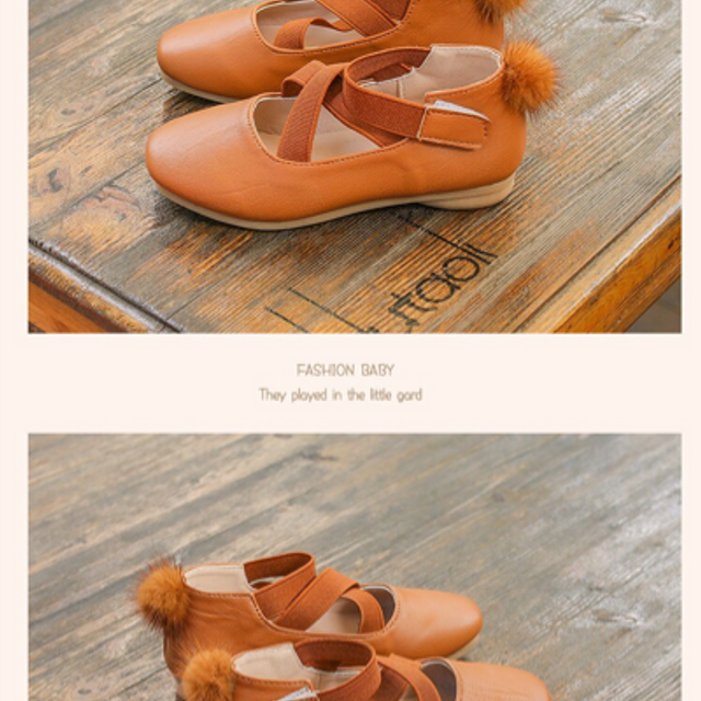 giày búp bê quả bông sau bé gái