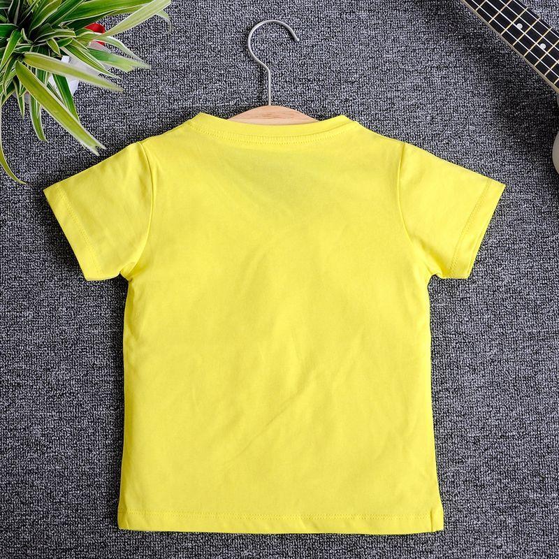 VN11 - Áo thun trơn cổ tim tay ngắn Màu vàng chanh giá sỉ