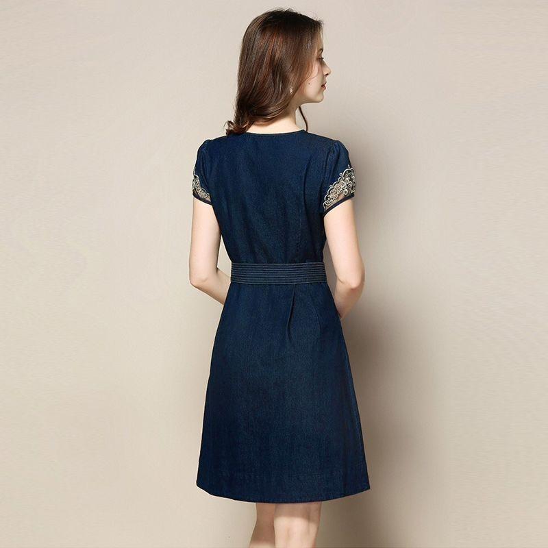 Đầm Jean Tay Phối Ren Kèm Nịt Rời - giá sỉ, giá tốt