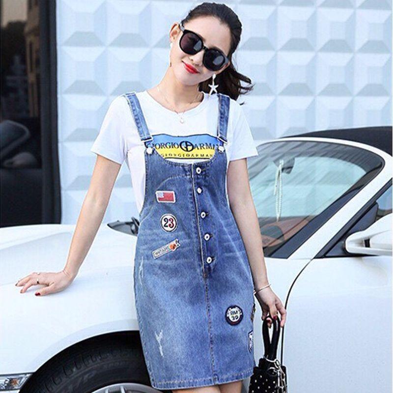 Đầm jean yếm phối nút thêu logo 23 - giá sỉ, giá tốt