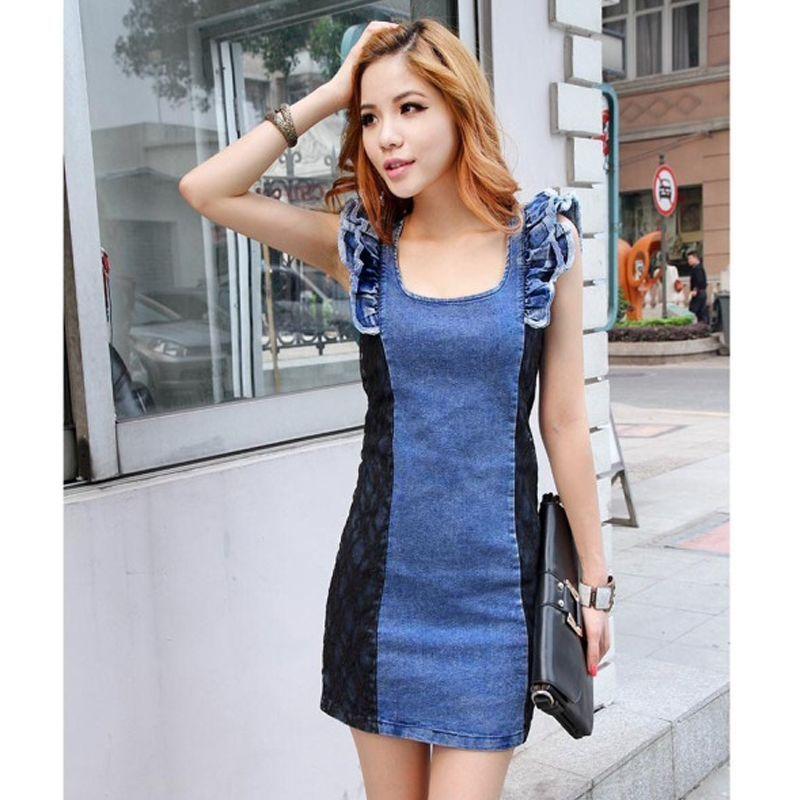 Đầm jean phối ren tay cánh tiên - giá sỉ, giá tốt