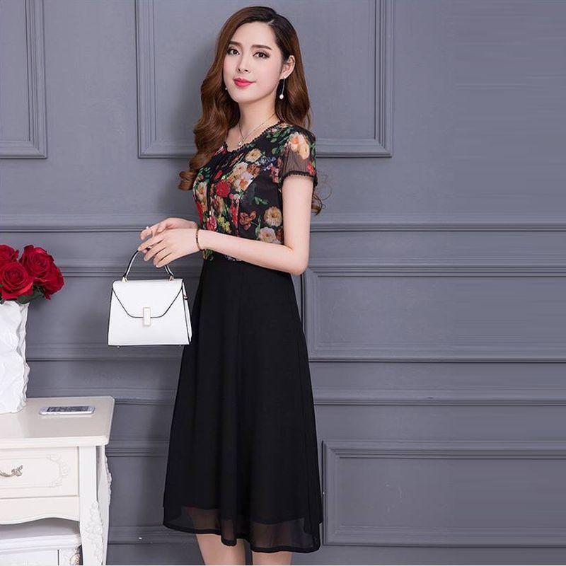 Đầm xòe chiffon in 3D hoa mùa thu phối ren - giá sỉ, giá tốt