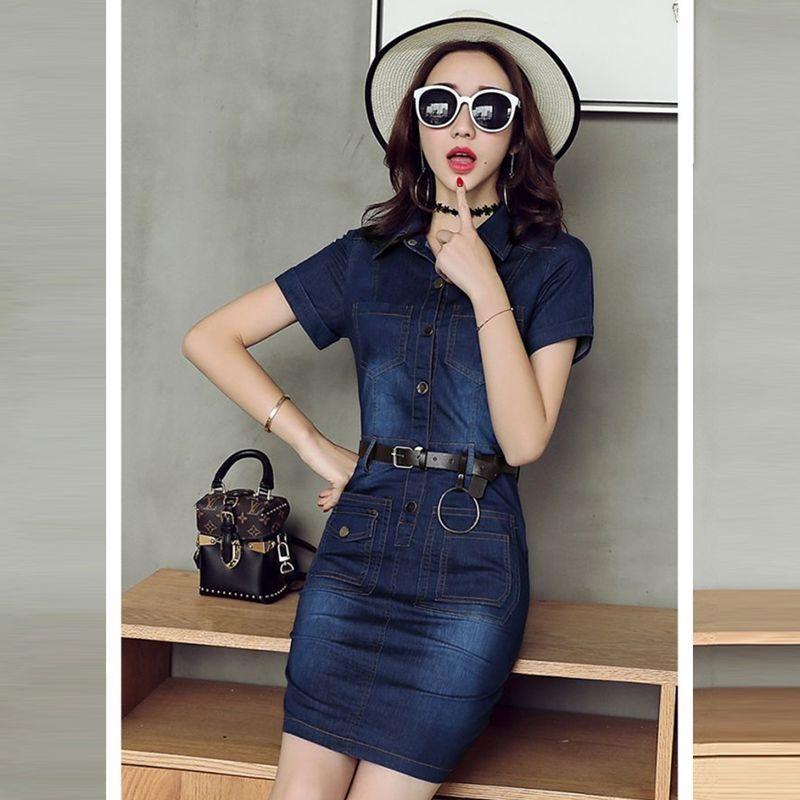 Đầm jean body phối túi cổ sơ mi - giá sỉ, giá tốt