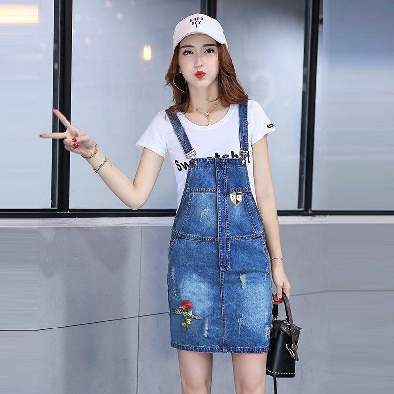 Đầm Jean Yếm Phối Túi Thêu Hoa Hồng - giá sỉ, giá tốt