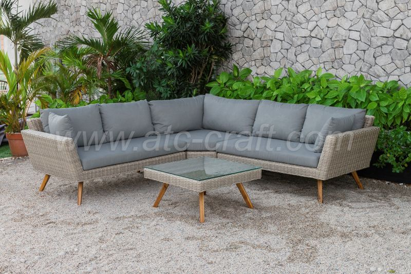 Bộ Sofa góc nhựa giả mây ATC giá sỉ, giá bán buôn