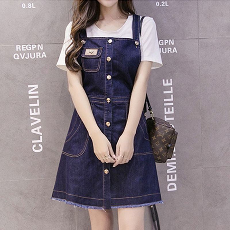 Đầm Jean Phối Nút Logo 29 - giá sỉ, giá tốt