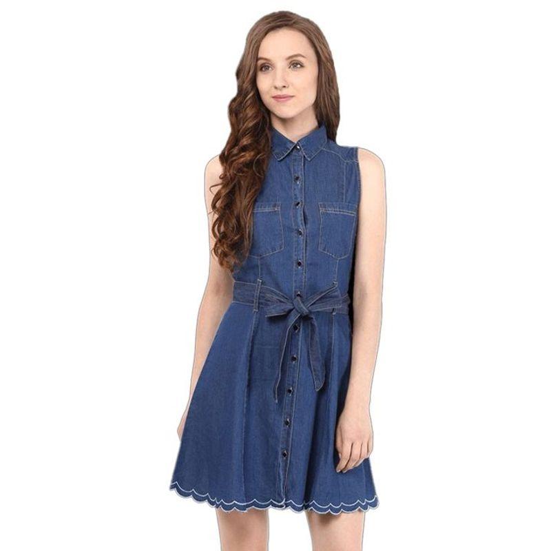 Đầm Jean Phối Nút Kèm Dây Nịt - giá sỉ, giá tốt