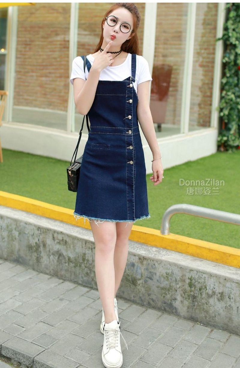 Đầm Yếm Jean Phối Nút Thời Trang TP1490 - giá sỉ, giá bán buôn
