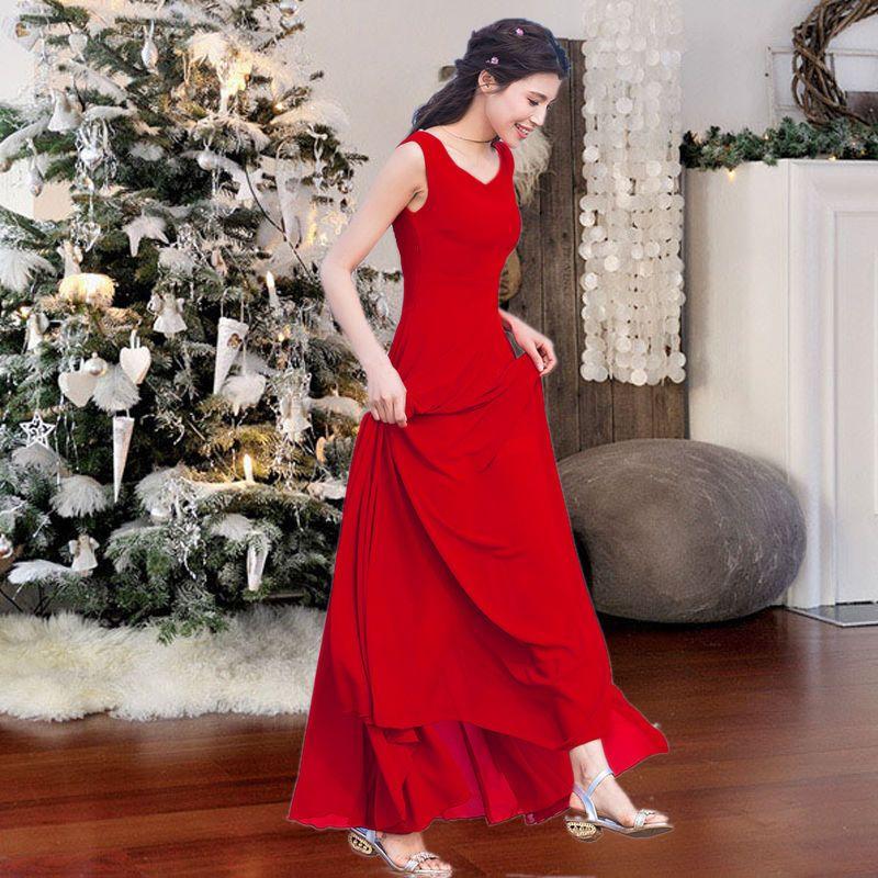 Đầm maxi đỏ cổ V thắt eo nơ - giá sỉ, giá bán buôn