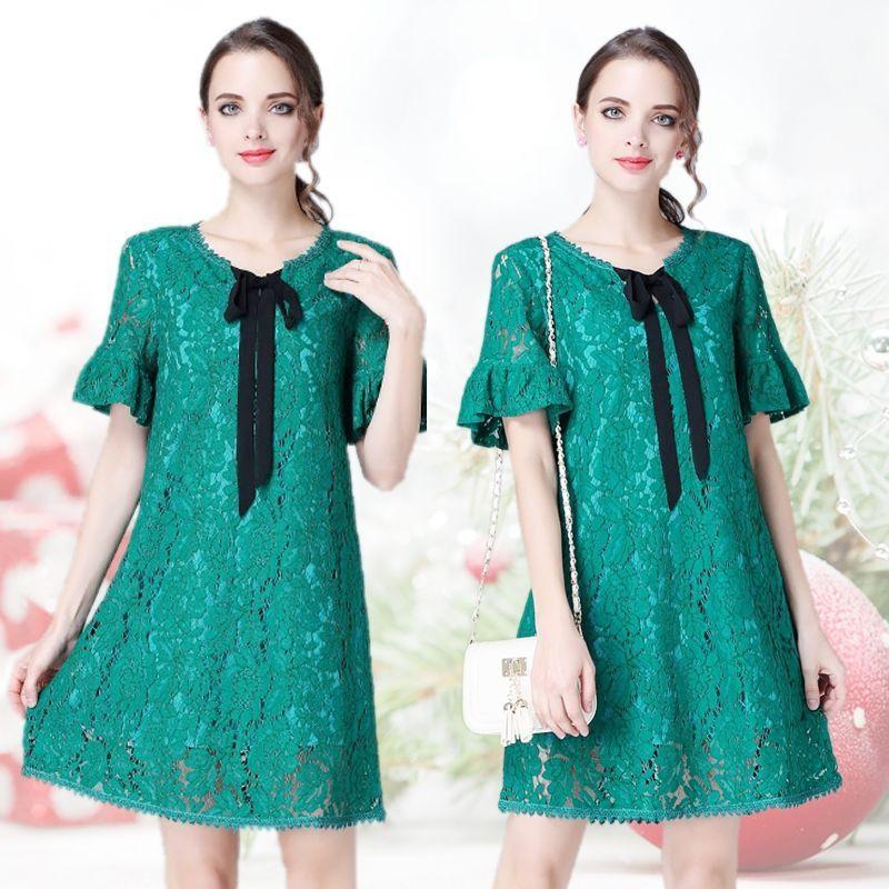 Đầm ren London tay loe cột nơ đủ size