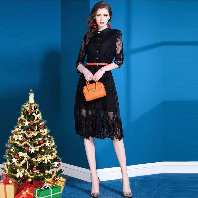 Đầm ren dài dự tiệc cổ trụ tay lỡ Milan - giá sỉ, giá bán buôn