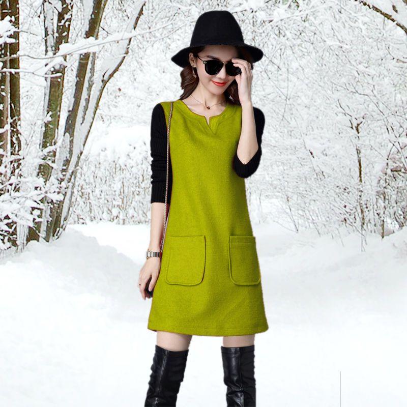 Đầm Suông Thu Đông Đỏ Đô Cổ V Tay DàiPhối Túi - giá sỉ, giá bán buôn