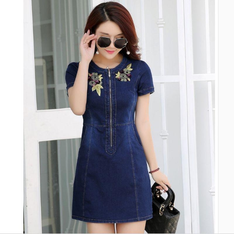 Đầm Jean Phối Dây Kéo Trước Thêu Hoa - giá sỉ, giá bán buôn