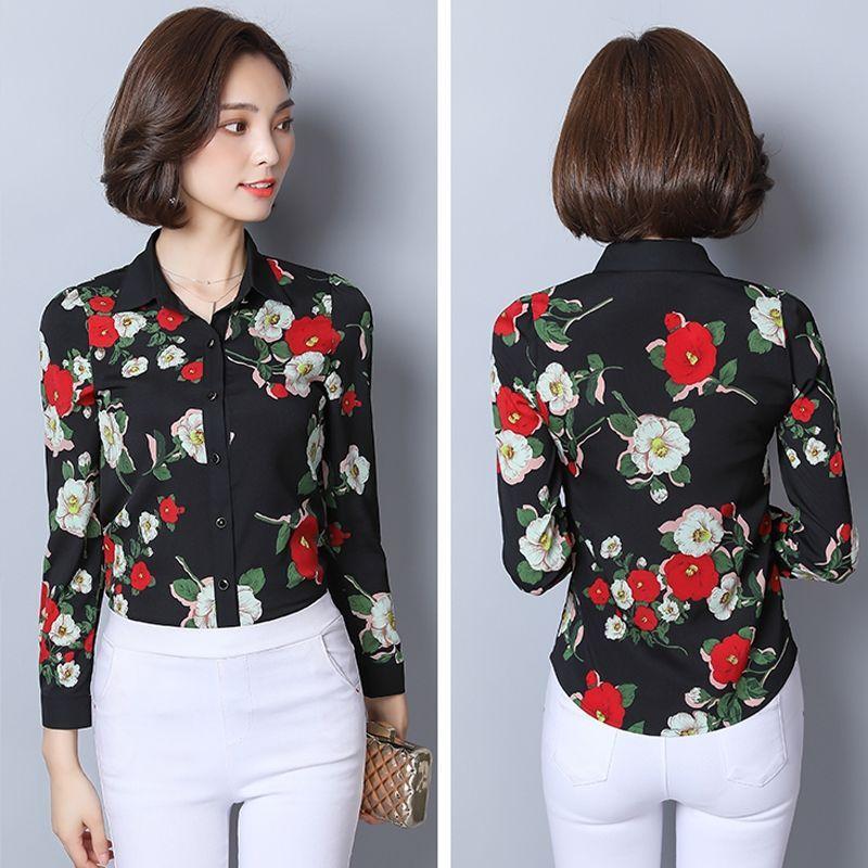 Áo Sơ Mi Hàn Quốc Nền Trắng Hoa Rosa - giá sỉ, giá bán buôn