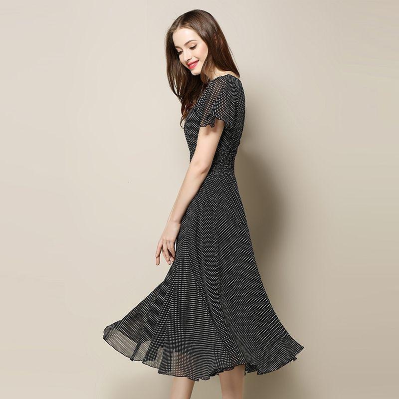 Đầm đen maxi xòe chấm bi nhỏ cổ V bo thun eo - giá sỉ, giá bán buôn