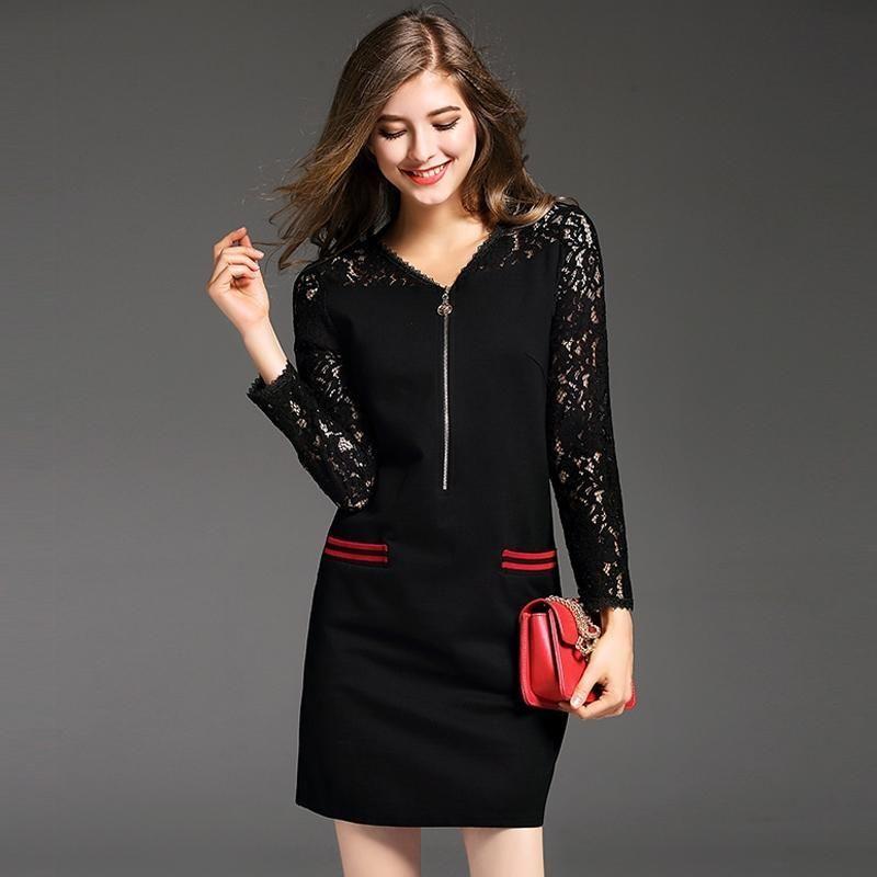 Đầm Ren Phối Túi Sọc Dây Kéo Trước Ngực - giá sỉ, giá bán buôn