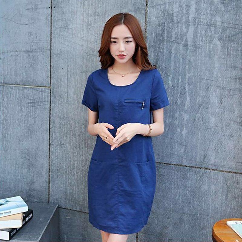 Đầm Jean Cổ Tròn Phối Túi Dây Kéo Ngực - giá sỉ, giá bán buôn