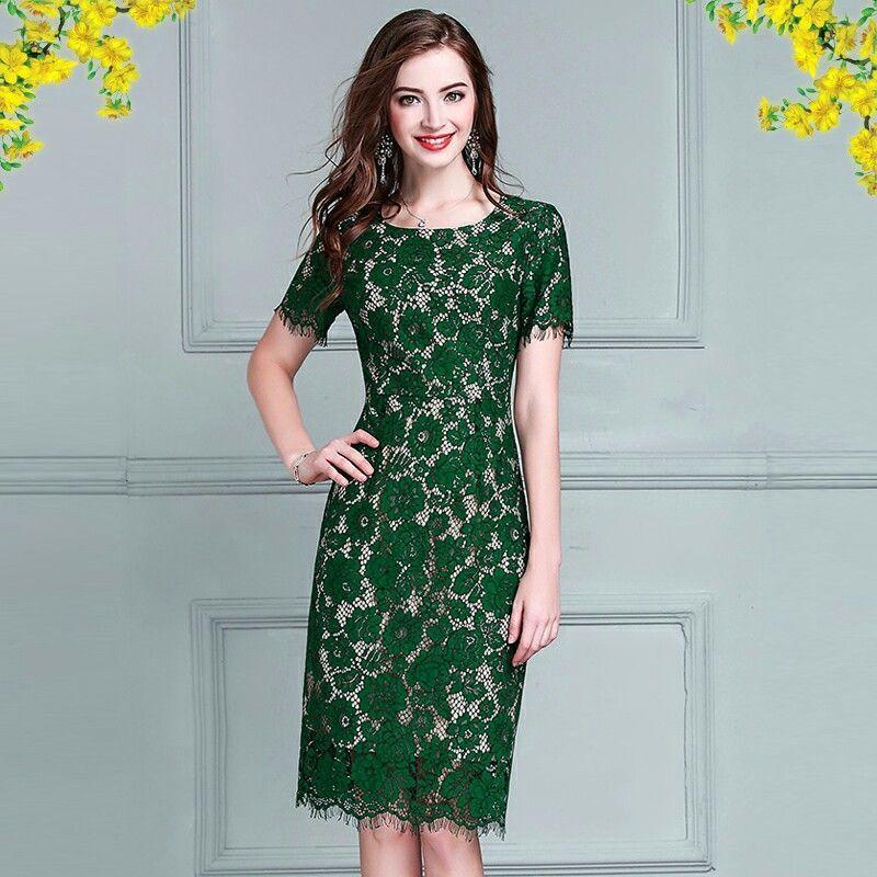 Đầm Ren Mi Màu Xanh Dự Tiệc Có Size XXL