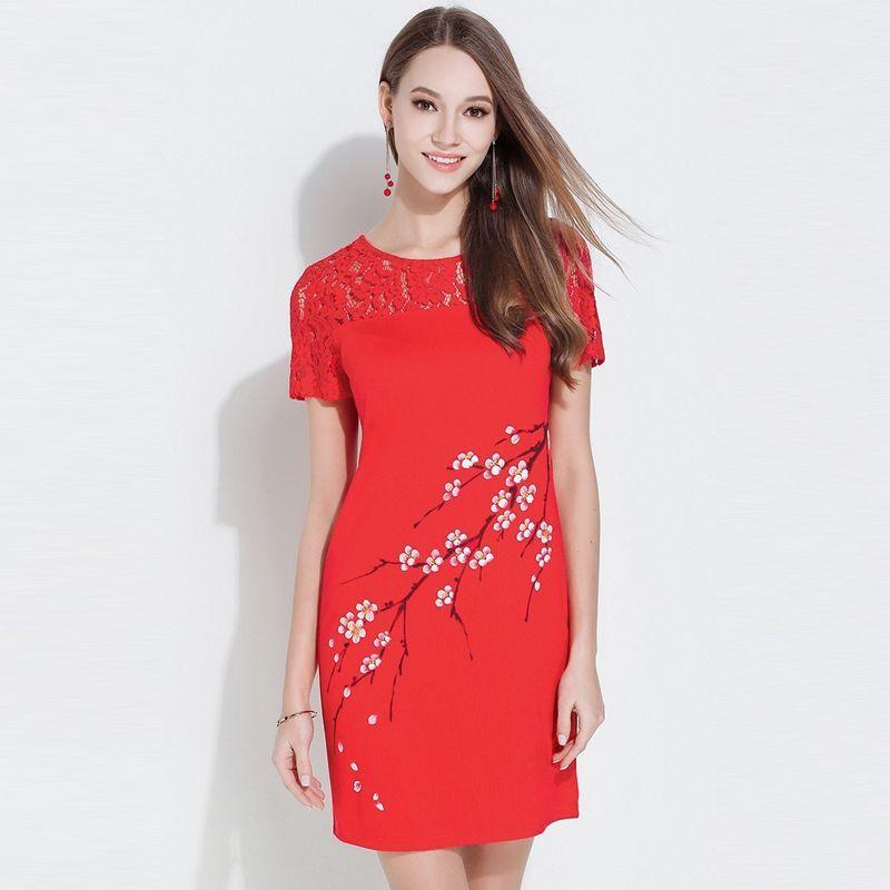 Đầm Đỏ Phối Ren Form Rộng cổ tròn In Cành Đào - giá sỉ, giá bán buôn