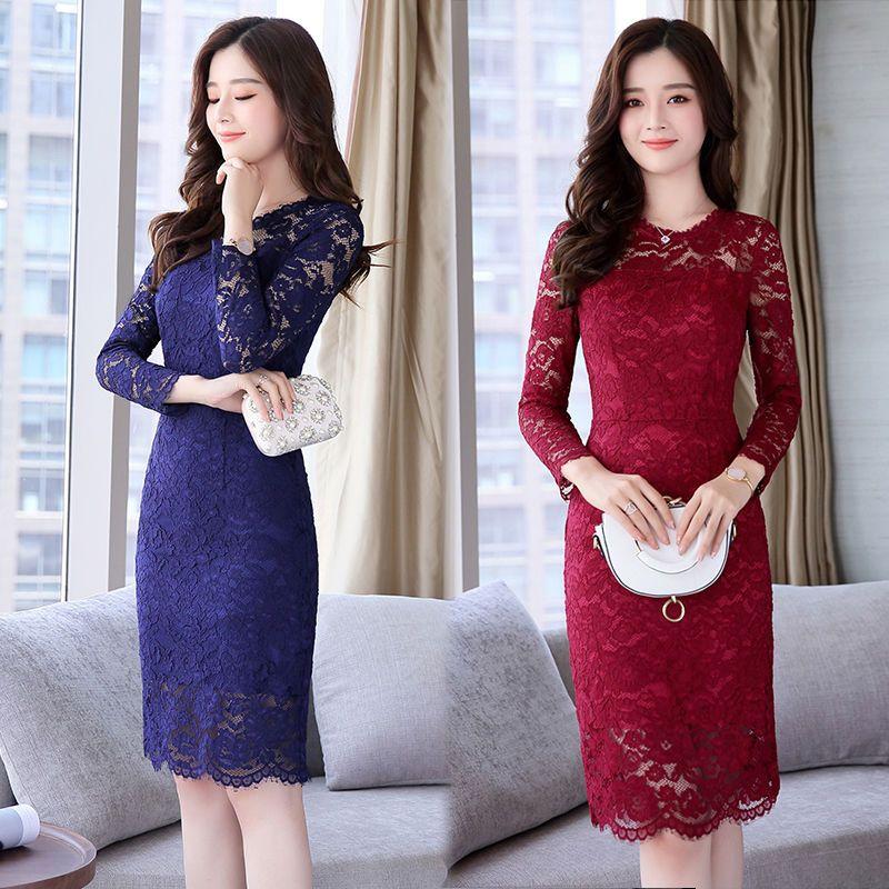 Đầm Ren Đỏ Hoa Nổi KAYA tay dài - giá sỉ, giá bán buôn
