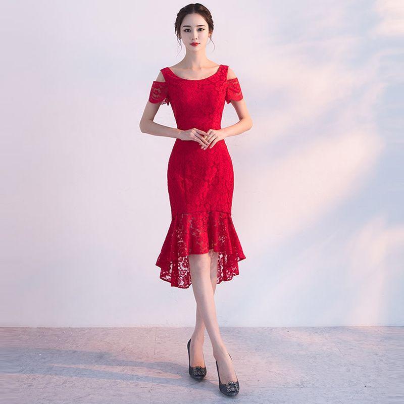 Đầm ren đỏ đuôi cá hở vai - giá sỉ, giá bán buôn