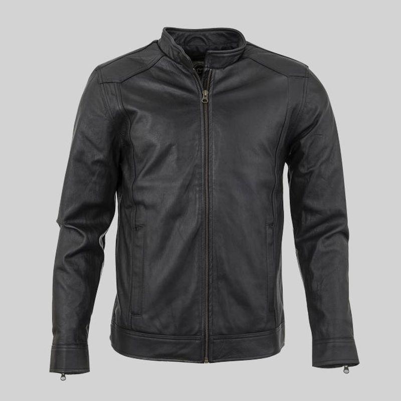 Áo khoác da nam lót lông phối dây kéo tay LD136 giá sỉ, giá bán buôn