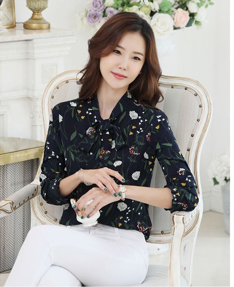 Áo Sơ Mi Hàn Quốc Xanh Đen In Hoa Lá - giá sỉ, giá bán buôn