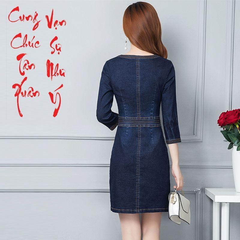 Đầm Jean Cộ Tròn Nẹp Viền Phối Túi - giá sỉ, giá bán buôn