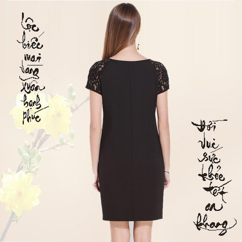 Đầm Đen Phối Ren Kết Đá Vòng Cổ - giá sỉ, giá bán buôn