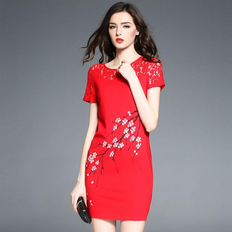 Đầm Đỏ Phối Ren In Cành Đào Form Rộng - giá sỉ, giá bán buôn