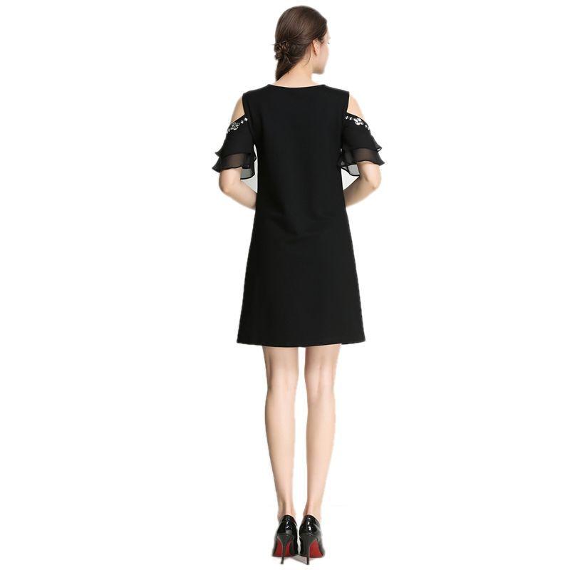 Đầm form A rớt vai kết pha lê tay voan - giá sỉ, giá bán buôn