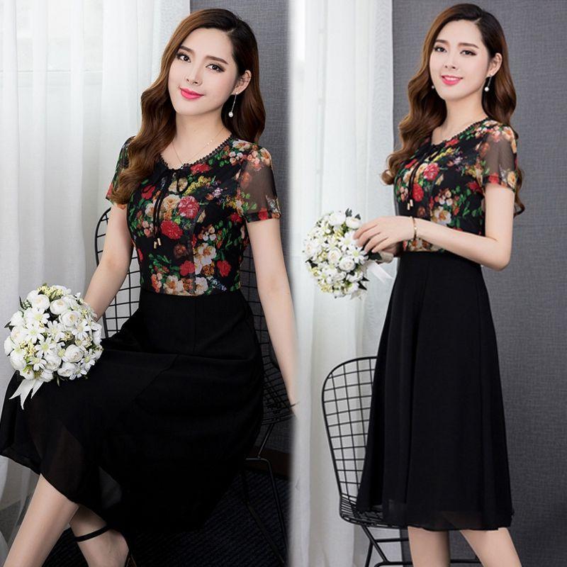Đầm xòe chiffon in hoa 3D cổ phối ren trẻ trung - giá sỉ, giá bán buôn