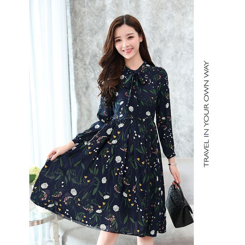 Đầm xòe nút sơ mi Hàn Quốc hoa lá nơ cổ - giá sỉ, giá bán buôn