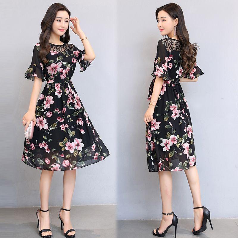 Đầm xòe chiffon in hoa vai ren tay loe giá sỉ, giá bán buôn