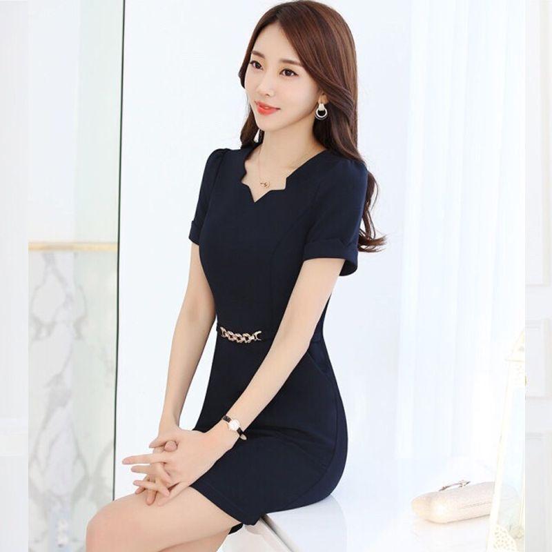 Đầm đen công sở cổ V cách điệu kèm nịt eo giá sỉ, giá bán buôn
