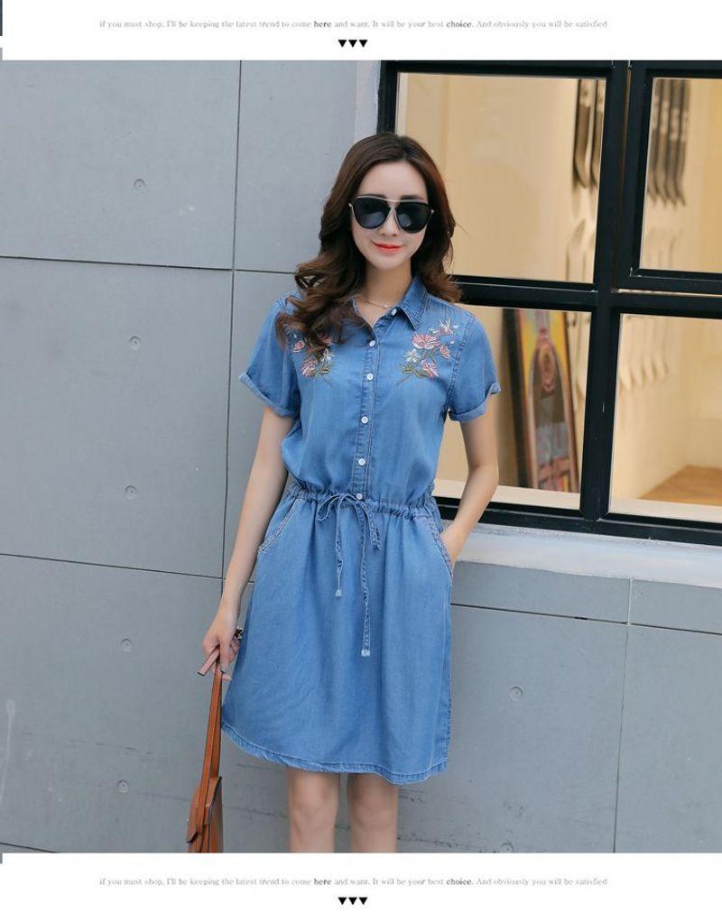 Đầm Jean Cổ Sơ Mi Thêu Hoa Dây Rút giá sỉ, giá bán buôn