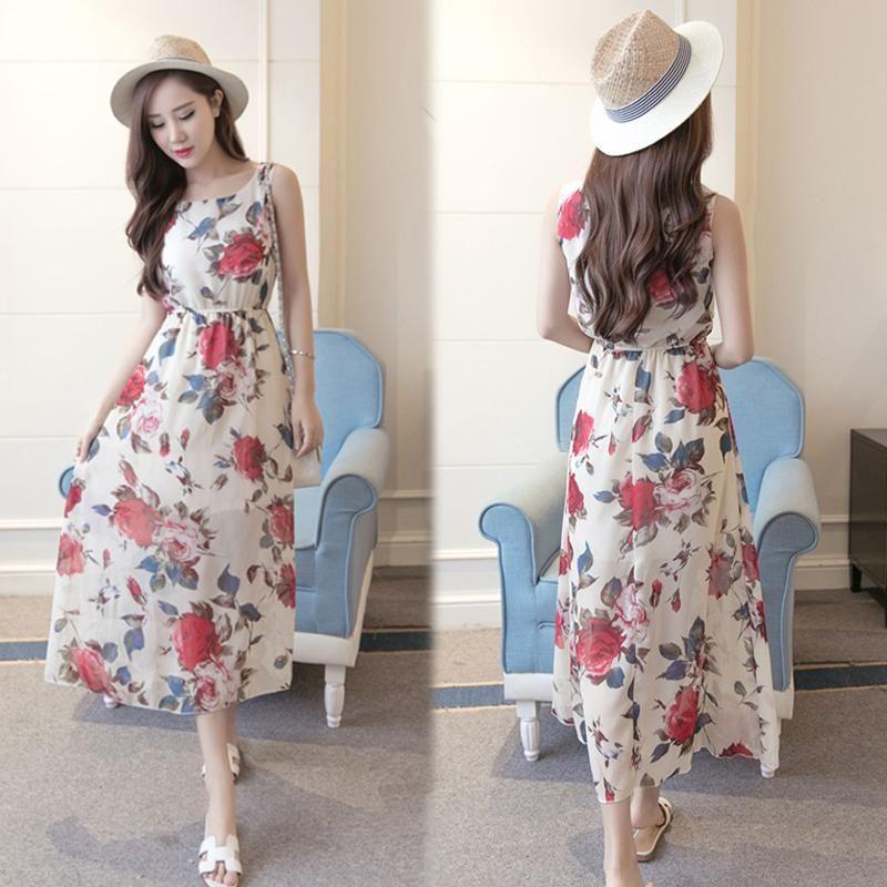 Đầm Maxi Hoa Hồng Nền Kem giá sỉ, giá bán buôn