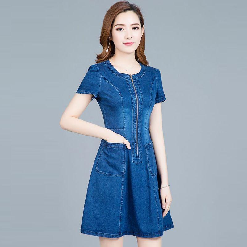 Đầm jean chữ A dây kéo trước phối túi eo giá sỉ, giá bán buôn