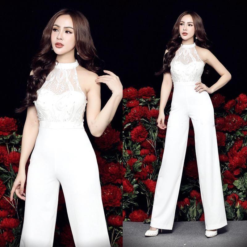 Jumsuit dài cổ yếm phối ren 3D trắng giá sỉ, giá bán buôn