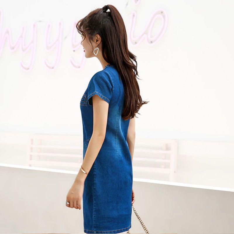 Đầm jean suông cầu vai cổ Y phối túi giá sỉ, giá bán buôn