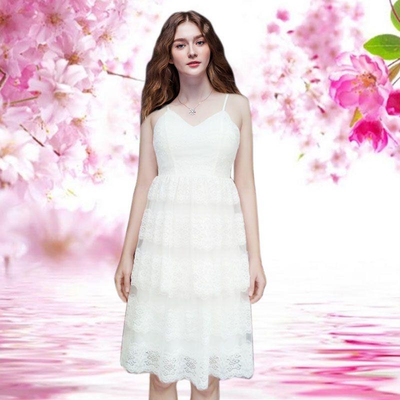 Đầm ren trắng dự tiệc 2 tầng chân ren giá sỉ, giá bán buôn